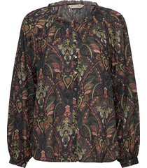 anna printed blouse blus långärmad grå odd molly