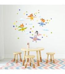 adesivo de parede animais pilotos infantil 50un - multicolorido - menino - dafiti