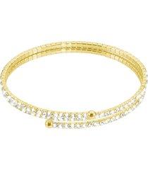 bracciale bangle doppio in metallo dorato e cristalli per donna