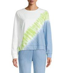 beach lunch lounge women's terie tie-dye sweatshirt - light indigo - size xs