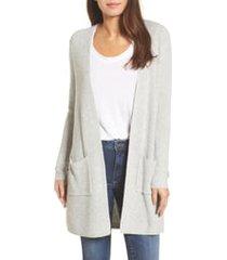 women's halogen long ribbed cardigan, size x-small - grey