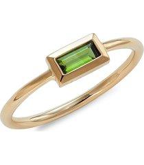 carelle women's rainbow baguette 14k yellow gold & green tourmaline ring - size 7