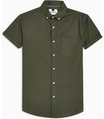 mens khaki stretch skinny oxford shirt