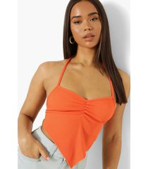 geribbelde geplooide sjaal top, orange