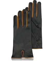 forzieri designer women's gloves, black & cognac cashmere lined leather ladies' gloves