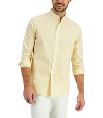 club room men's band-collar striped shirt, created for macy's