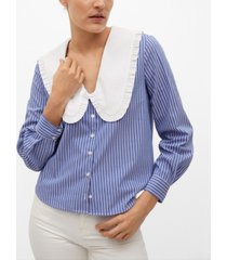mango babydoll neck cotton shirt