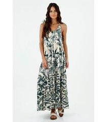 vestido de mujer, cuello redondo, de tirantes para anudar, con estampado floral