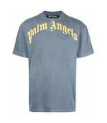 palm angels camiseta decote careca com estampa de logo - azul