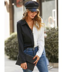 blusa de manga larga con diseño de cremallera y patchwork yoins