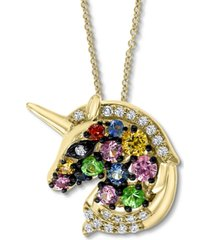 "effy multi-sapphire (1/3 ct. t.w.) & diamond (1/20 ct. t.w.) unicorn 18"" pendant necklace in 14k gold"