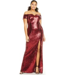 b darlin trendy plus size off-the-shoulder sequined gown, created for macy's