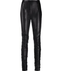 dorothee schumacher leather-effect ruched leggings - black
