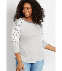 maurices plus size womens 24/7 gray americana baseball tee