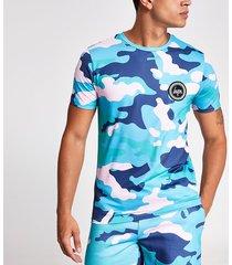 mens hype khaki camo print logo t-shirt