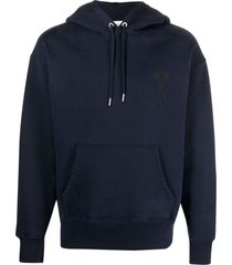 ami alexandre mattiussi blue organic cotton hoodie
