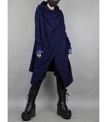 cárdigan de abrigo azul marino liso de longitud media irregular de estilo japonés para hombre
