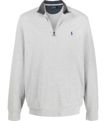 polo ralph lauren funnel neck logo sweater - grey