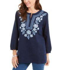 charter club metallic-embroidery linen-blend tunic, created for macy's