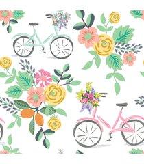 papel de parede flores e bicicletas quarto feminino 57x270cm - multicolorido - dafiti