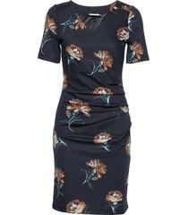 kaelera ss india dress knälång klänning blå kaffe