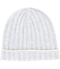 brunello cucinelli cashmere ribbed knit beanie - grey