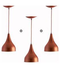 kit 3 lustres pd gota media alumínio 30cm soquete e27 cobre
