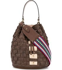 casadei twiga maxi bucket bag - brown