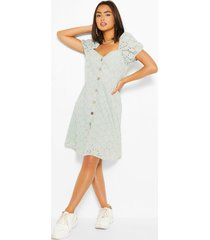broderie button through skater dress, mint