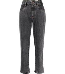 high waisted grey denim jeans brunello cucinelli