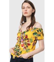 camiseta esqueleto amarillo-multicolor paris district