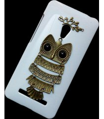 cute retro bronze metal owl branch hard back skin case cover for asus zenfone 5