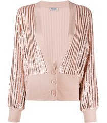 liu jo sequin-embroidered v-neck cardigan - pink