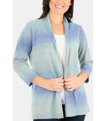 ny collection ombre open-front cardigan