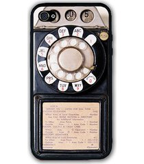 black vintage antique payphone iphone case - rubber silicone iphone 4 / 4s case