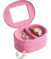 bey-berk women's 2-level leather jewelry case - pink