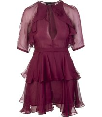 burgundy silk delilah short dress