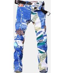 biker white printing jeans per uomo eleganti e sottili