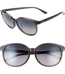 maui jim water lily 62mm polarizedplus2(r) round sunglasses in translucent grey/neutral grey at nordstrom