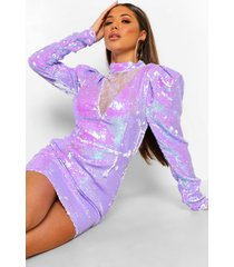 mesh decoletté mini jurk met pailletten en pofmouwen, purple
