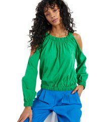 inc cotton cold-shoulder top, created for macy's