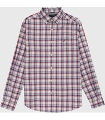 camisa blanco-azul-rojo nautica