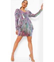luipaardprint midi jurk met pofmouwen en losvallende zoom, pink