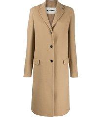 jil sander cashmere single-breasted coat - neutrals