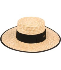 angela & william braid natural straw women's boater hat with black band