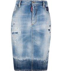 dsquared2 ripped detail denim skirt