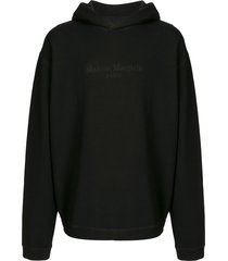 maison margiela embroidered-logo drop-shoulder hoodie - black