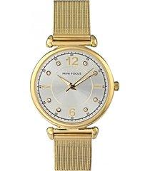 reloj análogo dorado mini focus