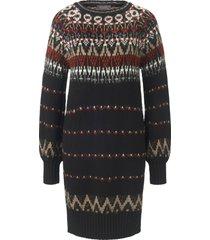gebreide jurk met wijde lange mouwen van mybc multicolour