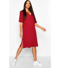 oversized midi t-shirt dress, burgundy